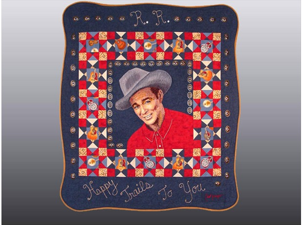 Happy Trails, 41 x 47, seed bead portrait featured in the book, Quilting with Beads by Valerie Shrader.
