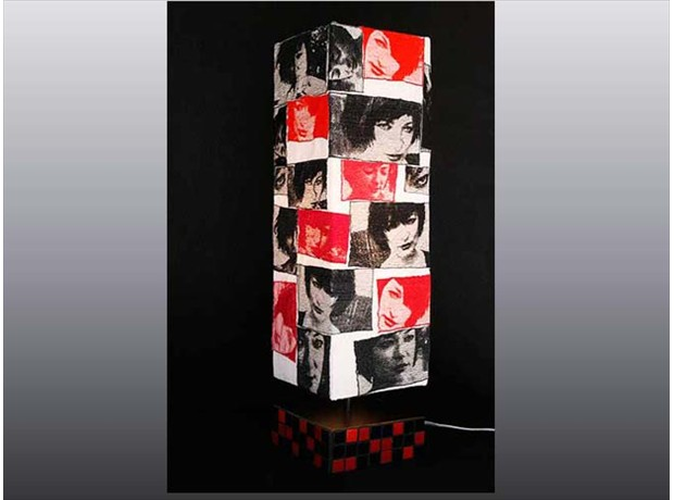 Totem, 27 x 8 x 8, illuminated sculptural lamp, with mosaic glass tile base.